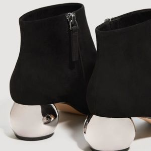 Mango Ayna Suede Booties Mirror heel